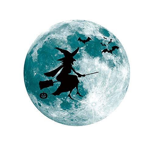 Upxiang Fensteraufkleber Mond Leucht Removable Wall Sticker Home Halloween Dekoration (D)