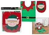 TWL BRAND CHRISTMAS ELF TOILET SEAT COVER AND MAT XMAS SANTA DRESS ACCESSORIES