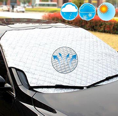 Preisvergleich Produktbild K-Bright 100x147cm Auto Abdeckung Scheibenabdeckung,Auto Windschutzscheibenabdeckung/Auto Scheibenabdeckung/Wasserdicht Frontscheibe Abdeckung für Winter + Sommer,Frostabdeckung,Anti-Sonne/Anti-Schnee,Einfach zu installieren und zu lagern(Mit Aufbewahrungsbeutel)