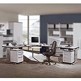 Büromöbel Schreibtisch Set in lichtgrau, höhenverstellbare Schreibtische, Container abschließbar, Karteicontainer & Rollcontainer
