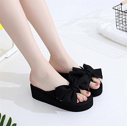 pengweiChaussures de dames Sandales d'¨¦t¨¦ Talon inclinable Flip Fashion clip foot pantoufles de plage 6