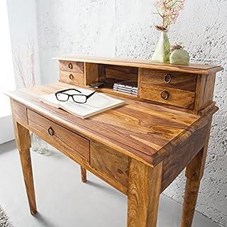 ambientica Sekretär Schreibtisch Rudyard Kipling 90cm indischer Palisander Kolonialstil Massivholz Bernstein Finish - Designer Schreibtisch