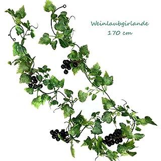 TLC Weingirlande 170 cm künstlich Rotwein Weinrebe Rebe Weinranke Wein Ranke Kunstpflanze