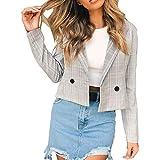 Damen klein Kariert Gestreift Kurz Jacke Mantel Elegant übergangsjacke Winterjacke Breasted Revers einfarbig für Frühling Herbst Winter Innerternet