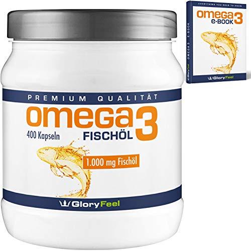 Omega 3 Fischöl-Kapseln 1000mg - Der Vergleichssieger 2017* - 400 Stück Hochdosiert - Mit 180mg EPA und 120mg DHA pro Omega-3 Softgel-Kapsel - Ohne Magnesiumstearate von GloryFeel