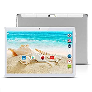 TAOERA 10 inch Android 7.0 Tablet Unlocked Pad with Dual SIM Card Slot 2.5D Curved Glass Touch Screen 4GB RAM 64GB ROM 3G Phablet Built-in Bluetooth WiFi GPS Tablets (Silver) 2
