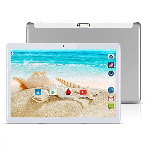 AOERA 10 inch Android 8.1 Tablet Unlocked Pad with Dual SIM Card Slot 2.5D Curved Glass Touch Screen 4GB RAM 64GB ROM 3G Phablet Built-in Bluetooth WiFi GPS Tablets (Metallic Silver)
