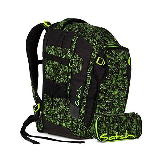 Satch Match - Set di 2 accessori per la scuola, zaino e astuccio (bermuda verde)