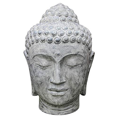 Ciffre Buddha Stein Kopf ca. 40cm Steinfigur Skulptur Feng Shui Garten Deko Wetterfest Lawa Stein aus Bali