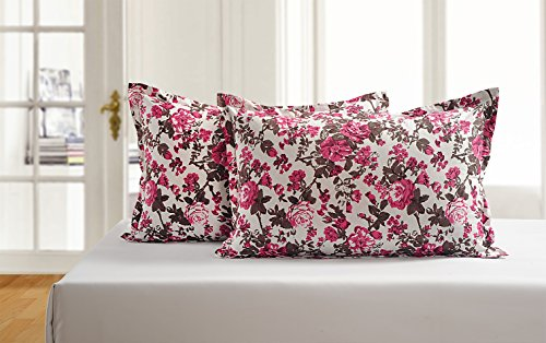 Idrape Cotton Floral Double Bedsheet(2 Double Bedsheet, 4 Pillow Covers, White, Red)