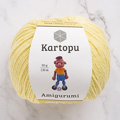 3 Knäuel Kartopu Amigurumi insgesamt 50 g / 142 yards (130 m), 49% Baumwolle, superweich, Dk Light Baby Garn, baumwolle, K331-Yellow, 5 Stück -