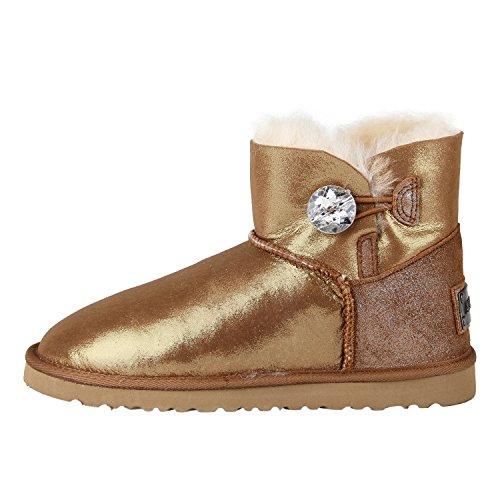 Shenduo - Boots fourrées femme cuir de mouton, Bottes de neige courtes doublure chaude en laine D5096 Or