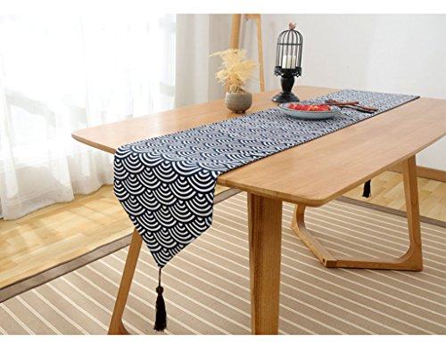 ZCJB Chemin de table Retro Élégant Coton Et Tissu Lin Chemin De Table Rurale Salon Thé Restaurant Solide Couleur Lit Drapeau (Couleur : Style1, taille : 31 * 140cm)