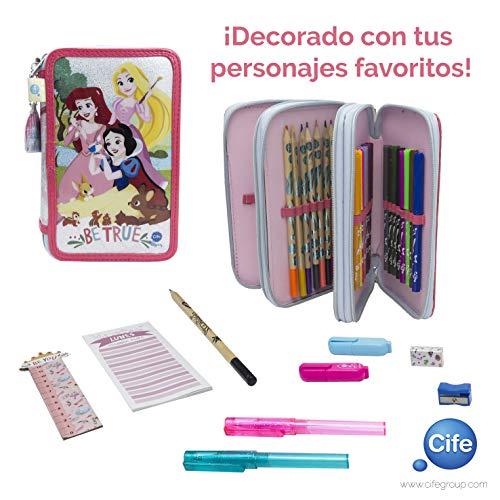 Disney Princesas Estuche Triple con Kit Completo de papelería Cife Spain 41408