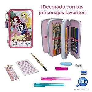 Disney Princesas Estuche Triple con Kit Completo de papelería (Cife Spain 41408)