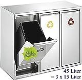 45 L Edelstahl Wand-Abfalleimer 3x15 L Mülleimer 3-fach Mülltrennung 3er Müll-Trennsystem 45 Liter Abfallsammler zur Abfall-Trennung original Made for us