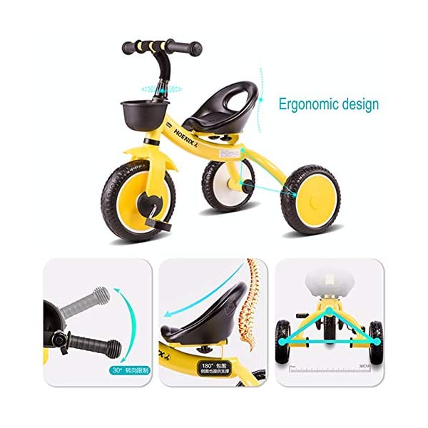 GSDZSY - Children kids Tricycle Foldable, Handlebar steering limit, 1-3 years old GSDZSY ❀ Material: High-carbon steel +ABS+ Rubber wheel ,Suitable for 18 Months to 5 years old Child, Maximum Load 30 kg ❀ The Push Rod can be adjusted Height, Pusher can control direction, Suitable for mothers of different heights ❀ The tricycle frame can be folded for easy carrying and storage 2