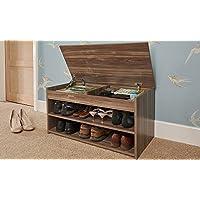 Home Source Shoe Storage Cabinet Rack Wooden Hallway Storage Bench with Lift Up Lid - Walnut