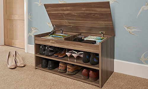Home Source Shoe Storage Cabinet Rack Wooden Hallway Storage Bench with Lift Up Lid - Walnut
