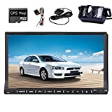 Telecamera HD posteriore Incluso 2015 WIN 8 New Design Model 7 'pollici doppio 2-DIN in dash lettore DVD Touch screen LCD con DVD / CD / MP3 / MP4 / USB / SD / AMFM / RDS Radio / Bluetooth / stereo / Audio e navigazione GPS navigatore satellitare Testa piastra di registrazione cambio Recorder Wall Paper HD: 800 * 480 LCD + GPS gratuito di navigazione Antenna + 4GB carta del programma gratuito + Backup Parcheggio Camera