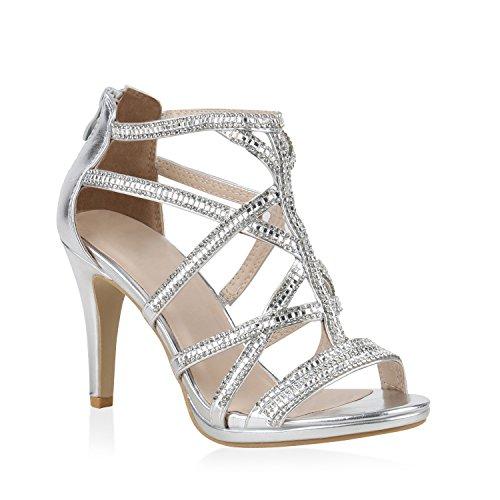 Damen Schuhe Riemchensandaletten High Heels Sandaletten Party Lack 153575 Silber Strass 37 Flandell