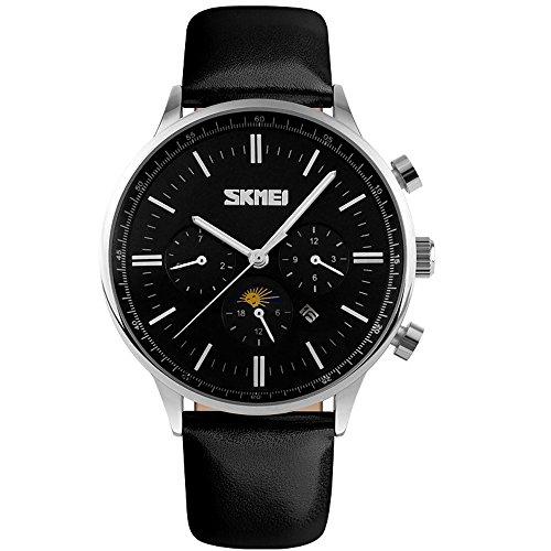SunJas Montre Durable bracelet Multifonctions Montre Bracelet Électronique, Étanche à L'eau Jusqu'à 30 M , Sports Montres Bracelet de mode (Argent/Noir)
