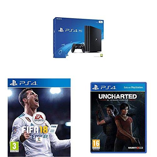 PlayStation 4 Pro (PS4) - Consola, Color Negro + FIFA 18 - Edición Estándar + Uncharted: El Legado Perdido