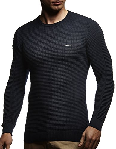 LEIF NELSON Herren Pullover Strickpullover Hoodie Basic Rundhals Crew Neck Sweatshirt longsleeve langarm Sweater Feinstrick LN1545 Dunkel Blau