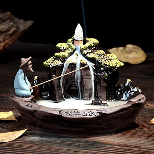 Landscape Backflow Räucherkegel mit 10 Stück Rückfluss-Räucherkegel, Home Keramik Backflow Räucherkegel Halter Brenner