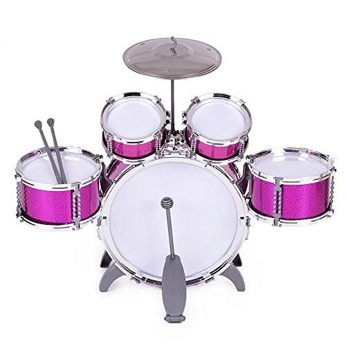 ammoon-kinder-schlagzeug-musikinstrument-spielzeug-5-drums-mit-kleinen-becken-hocker-drum-sticks-fur