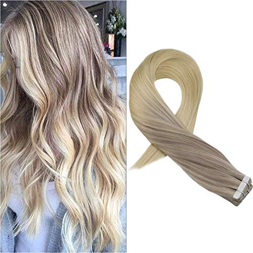 Moresoo 20pcs Remy Tape in Extensions #18