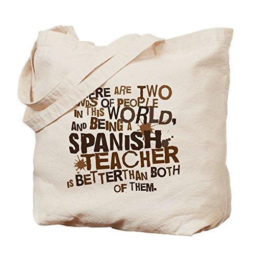 CafePress Tote Bag aus natürlichem Leinen, Motiv: Spanish Teacher (in englischer Sprache), ideal als Einkaufstasche, canvas, khaki, S