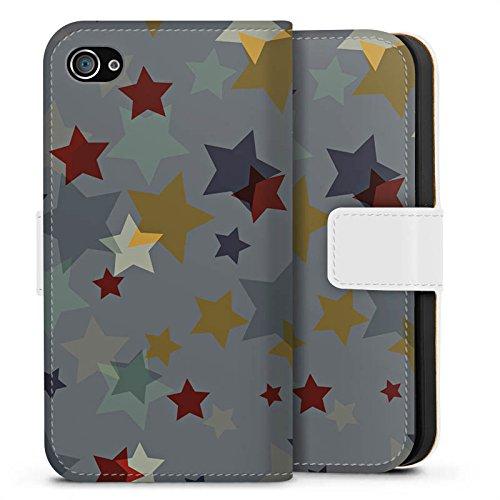 Apple iPhone 6 Plus Silikon Hülle Case Schutzhülle Sterne Muster Nacht Sideflip Tasche weiß