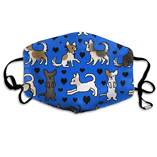 Daawqee Staubschutzmasken, Chihuahua Colors On Blue Dust Mask,Washable and Reusable Cleaning Gardening Mask,for Allergens,Exhaust Gas,PM2.5, Running, Cycling, Outdoor Activities Warm Windproof Mask