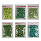 #10: eshoppee 8/0 green family colors seed beads for jewellery making and home decoration 6 pack x 40 gm, 240 gm