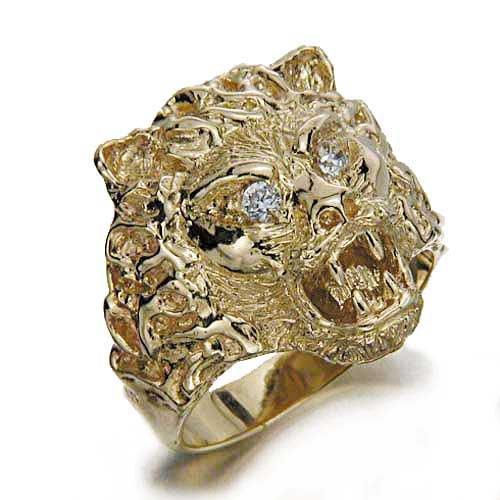 Gioie Anello Unisex in Oro 14 carati Giallo con Zircone Bianco, Taglia 23, 21 Grammi