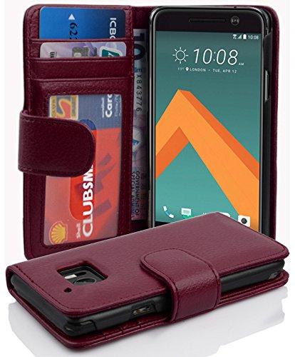 Cadorabo Hülle für HTC 10 (One M10) - Hülle in Bordeaux LILA – Handyhülle mit 3 Kartenfächern - Case Cover Schutzhülle Etui Tasche Book Klapp Style