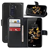 LG K8 Case, HualuBro Premium PU Leather Wallet Flip Phone Protective Case Cover with Card Slots for LG Escape 3 / LG Phoenix 2 / LG K8 Smartphone (Black)