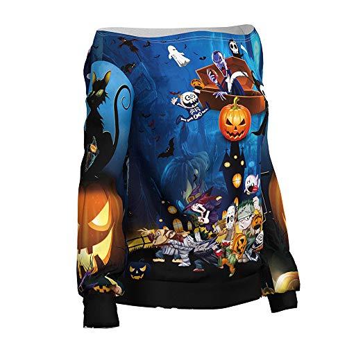 Frau Killer Kostüm Zombie - WANLN Frauen Sweatshirt Frau Halloween Lady Robustes Langarm Lässiges Kapuzen Sweatshirt Pullover Top,Blau,L/XL