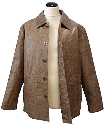 Curzio - Lederjacke Herrenjacke Blouson gewachstes crushed Leder mit Knöpfen Rindleder Jacke Comfort Fit relaxter Passform schwarz beige Beige