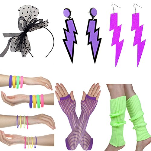 Womens 80s Fancy Dress Accessory Set. Choice of colours and designs