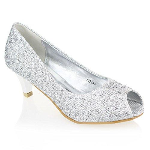 Aarz signore delle donne Sera Corte Diamante sandali tacco basso promenade del partito scarpe da sposa Dimensioni (Argento)
