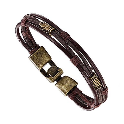 Men's Alloy Genuine Leather Bracelet Bangle Clasp Black Stainless Wristband