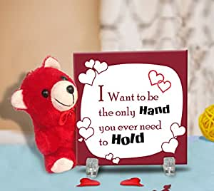 TiedRibbons® Valentine's Day (Printed Tile with Cute Teddy)