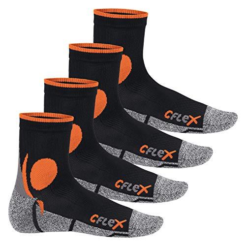 CFLEX Damen und Herren Running Funktions-Socken (4 Paar) Laufsocken - Schwarz-Orange 39-42 -