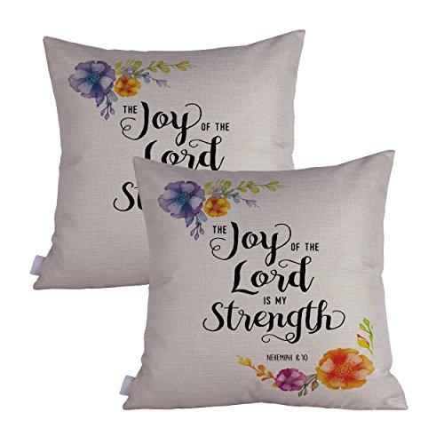 Queenie 2Pcs christlichen Bibel Vers inspirierendes Zitat Bibel Kalligraphie Dekorativer Überwurf-Kissenbezug 50,2x 50,2cm 50x 50cm The Joy of The Lord