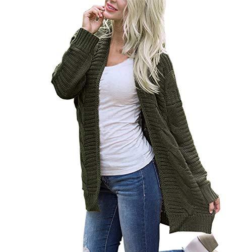 VEMOW Heißer Herbst Winter Elegante Damen Frauen Langarm Strickwaren Open Front Cardigan Casual Daily Freizeit Pullover Casual Oberbekleidung(Armeegrün, EU-46/CN-3XL)