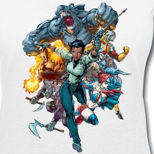 Suicide Squad Escadron Suicide Groupe De Vilains T-shirt col V Femme de Spreadshirt® Blanc