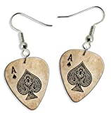 Ace Of Spades Card Casino 2 X Logo Gitarre Plektrum Pick Ohrringe Earrings (GD)