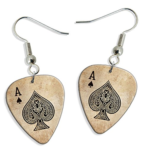 Ace Of Spades Card Casino 2 X Logo Chitarra Pick Earrings orecchini (GD)